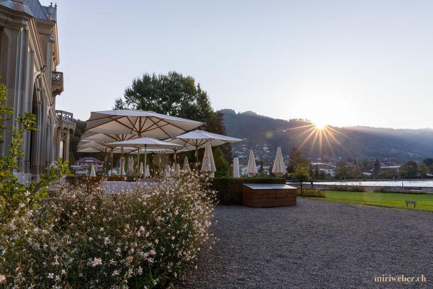 Schloss Schadau, Hotel, Restaurant, Brunch, Terrasse, Frühstück, Thun, schlafen im Schloss, Schadaupark, Erlebnis, Ausflug, Berner Oberland, Park