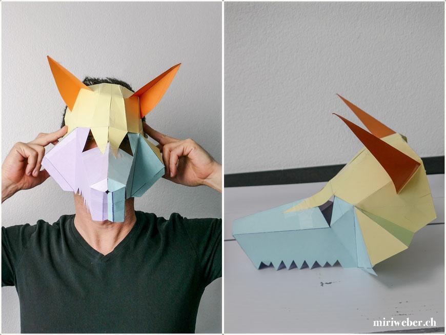 DIY, Maske, Eisbär, Wolf, Wintercroft, selber machen, kreativ, DIY Blog Schweiz, Fasching, Kinder, Kostüm, Papmache, Kleister, Papier, basteln, mit Kindern, Fasching, Fasnacht, Karneval