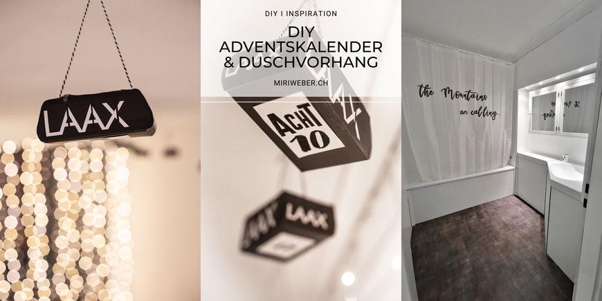 DIY Gondel, Seilbahn, Adventskalender, Kreativ Blog Schweizer, Schweizer DIY Blog, DIY Duschvorhang bemalen, selber machen, Duschvorhang beschriften, Textil beschriften, Laax, Ferienwohnung