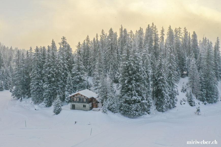 Tegia Alp Plaun, Flims, Laax, Berghütte, Ferienhaus, Maiensäss, mieten, Drohnenaufnahmen, Graubünden, Schweiz, Content Creator, Fotografin, Fotograf