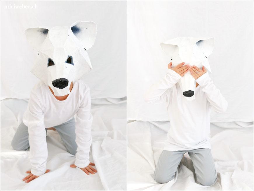 DIY, Maske, Eisbär, Wolf, Wintercroft, selber machen, kreativ, DIY Blog Schweiz, Fasching, Kinder, Kostüm, Papmache, Kleister, Papier, basteln, mit Kindern, Fasching, Fasnacht, Karneval , Familien Blog Schweiz