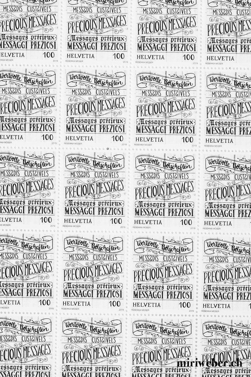 Handlettering Briefmarke, Lettering Briefmarke, Kalligraphie Briefmarke, Wertvolle Botschaften, Schweizerische Post, Rebekka Moser, Briefmarke, reasons2write, 2019, schreiben, Swisspost, Schweizerische Post