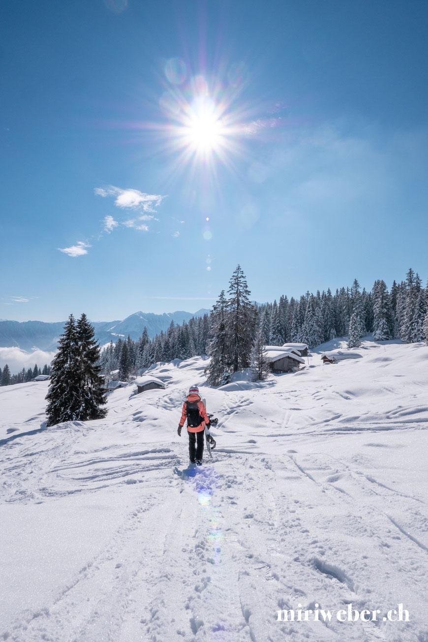 Flims, Laax, Pisten, Grauberg, Talabfahrt Flims, Fotospots, Winter, Skiferien, Snowboarden
