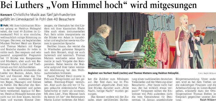 Konzertkritik Weihnachtskonzert, Rhein-Lahn-Zeitung 21.12.2017