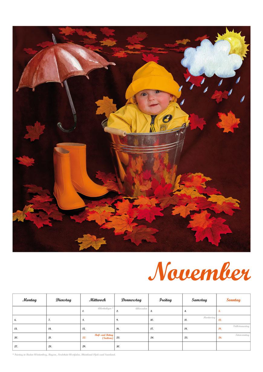 Baby-Fotokalender, Kalenderblatt Juni