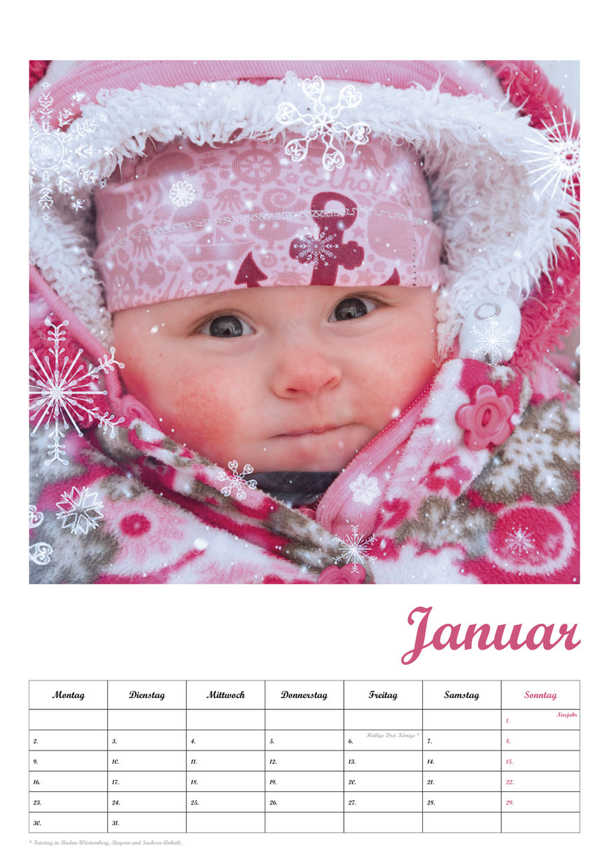 Baby-Fotokalender, Kalenderblatt Januar