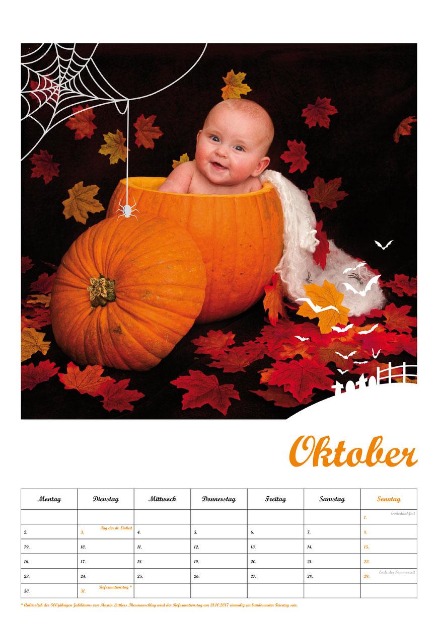 Baby-Fotokalender, Kalenderblatt Oktober