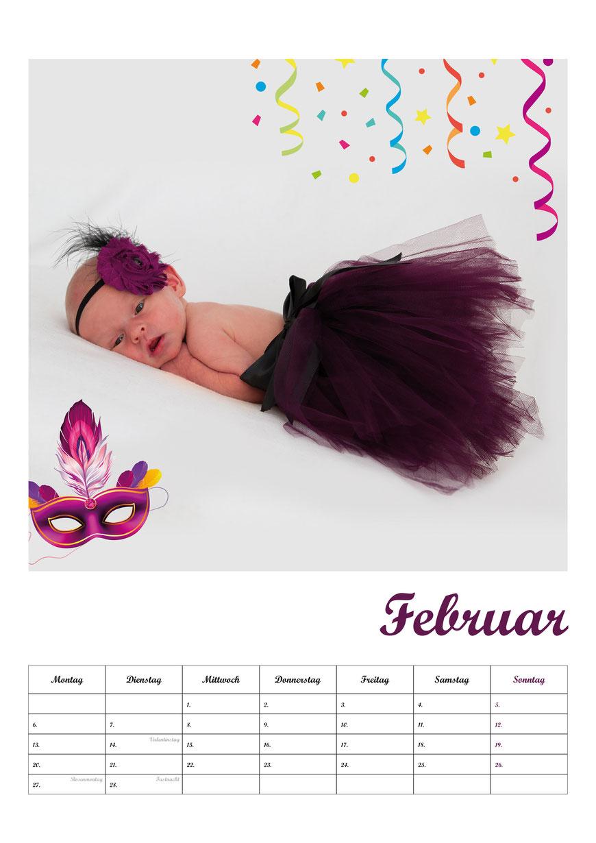 Fotokalender Neugeborenenshooting Babyfotos Februar