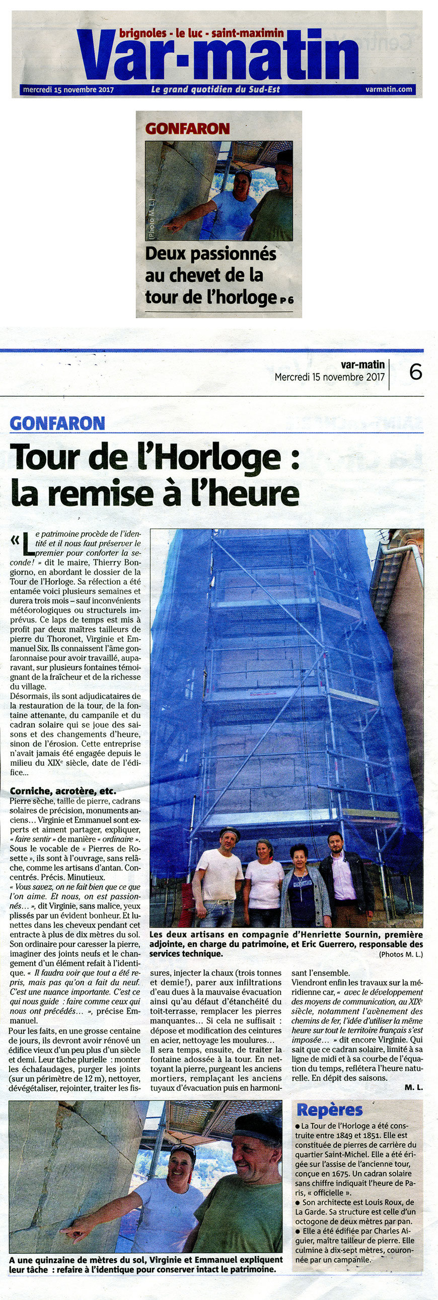 article-restauration-tour-horloge-gonfaron-pierre-monument-var-matin