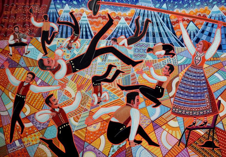 "Anja Mattenklott: ""Hallingdans"", 2016, 100 cm x 70 cm, Pigmente, Gouache, Graphit auf Karton"