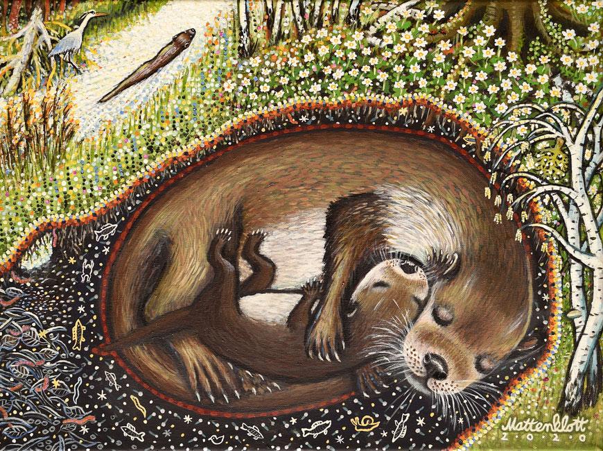 """Anja Mattenklott: """"Otterleben"""", 40 cm x 30 cm, Gouache, Pigmente auf Leinwand, 2020"""