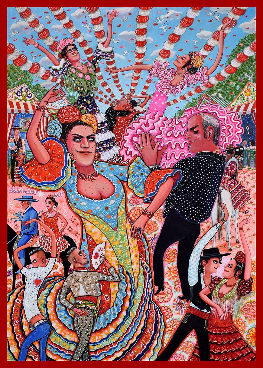 "Anja Mattenklott: ""Sevillana"", 2017, 50 cm x 70 cm, Gouache, Pigmente, Graphit auf Karton"