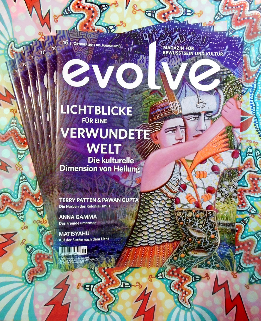 Evolve-Magazin Oktober 2017 bis Januar 2018, durchgängig designt mit Malerei und Zeichnung von Anja Mattenklott