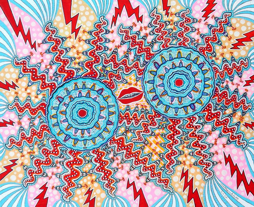 """Anja Mattenklott: """"Innere Spannungen"""", 2017, 60 cm x 50 cm, Gouache, Pigmente, Graphit auf Karton"""