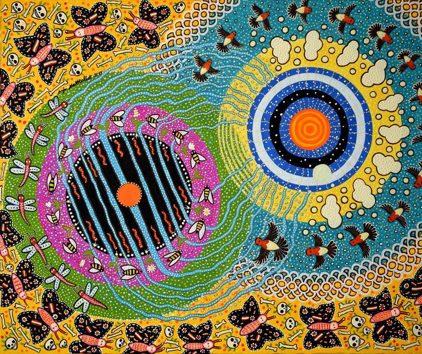 "Anja Mattenklott: ""Erde und Himmel"", Januar 2019, 60 cm x 50 cm, Gouache, Pigmente, Nachtleuchtfarbe auf Karton"