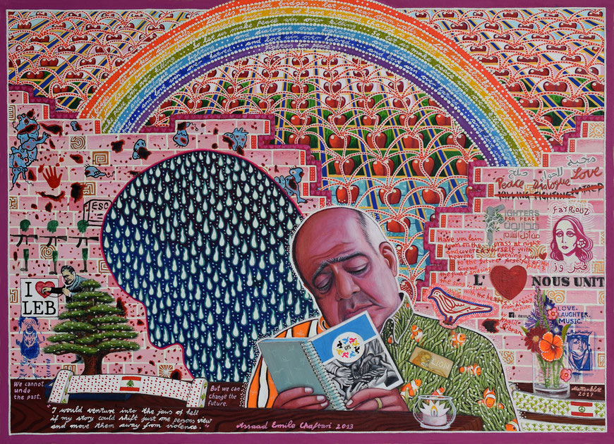 "Anja Mattenklott: ""Heartbridge"", 2017, 70 cm x 50 cm, Gouache, Pigment, Graphit, Nachtleuchtfarbe auf Karton"