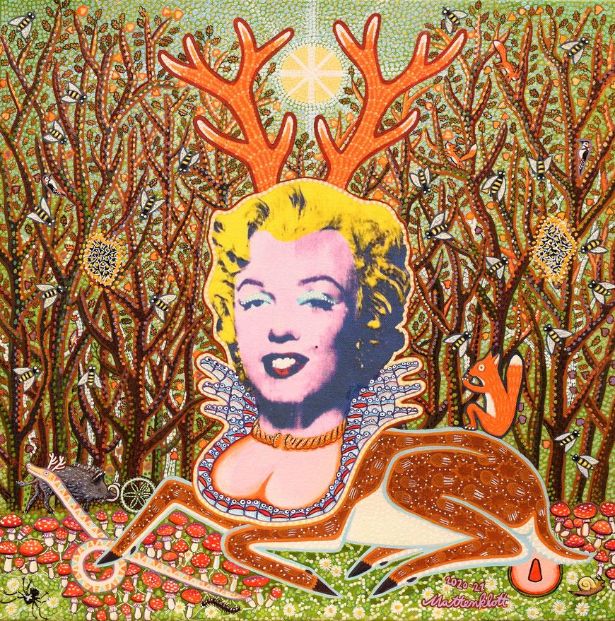 """Anja Mattenklott: """"Marylin Hirsch"""", 2020 und 2021, 50 cm x 50 cm, Leinwanddruck übermalt mit Gouache und Pigmenten"""