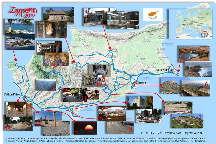 Zypern 2019 - Googlekarte mit unseren Fotos