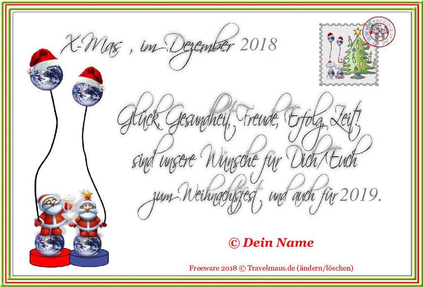 Weihnachtskarte ... mit eigenen Namen am PC ergänzen.