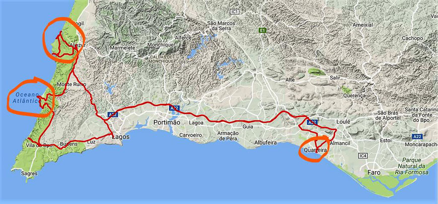 Quarteira - Aljezur, Vila de Bospo, Lagos und zurück ; ca. 280 km; Mautgebühren 9,20 € (22.2.2017)