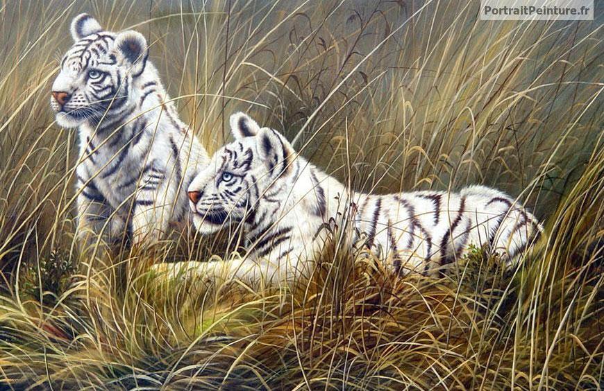 Peintre animalier peinture animaliere portrait animalier portrait peint - Peinture petit blanc ...