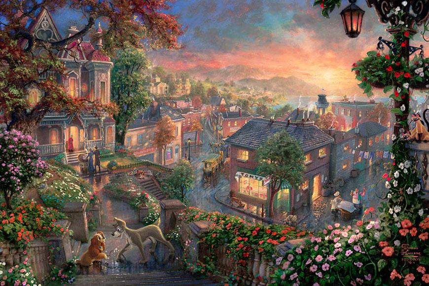 Thomas-Kinkade-peinture-la-belle-et-le-clochard