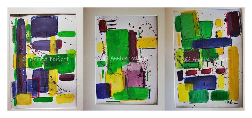 """Serie """"Ecken und Kanten (gelb, grün, lila)"""" Acryl/Pastellkreide/Bleistift auf Papier, 3 x DIN A4, November 2019"""