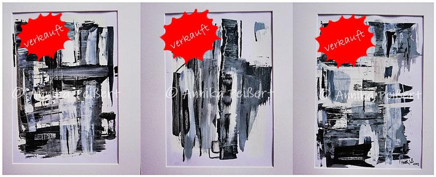 """Serie """"Ecken und Kanten (schwarzweiss)"""", Acryl auf Papier, 3 x DIN A4, Oktober 2019"""