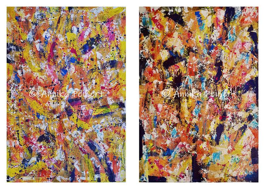 Acryl, Pastellkreide über Gips-Kleberstruktur auf Plakatkarten 68 x 48 cm