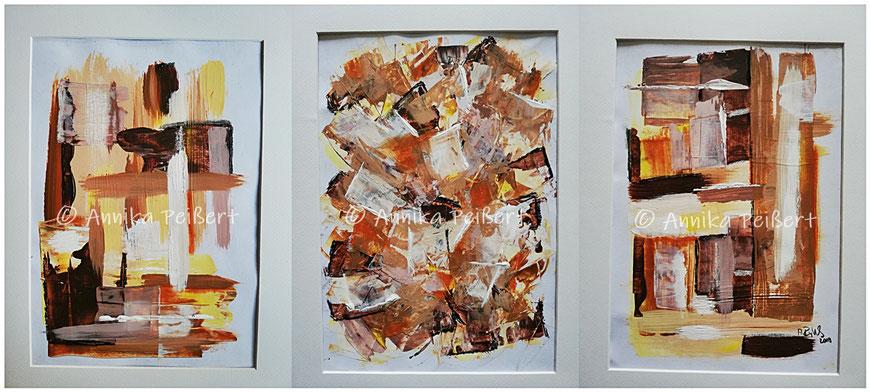 """Serie """"Ecken und Kanten (braun)"""", Acryl auf Papier, Details mit Pastellkreide, 3 x DIN A4, Oktober 2019"""