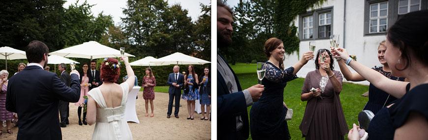 Sektempfang in Schloss Spreewiese bei Bautzen nahe Dresden bei Hochzeit