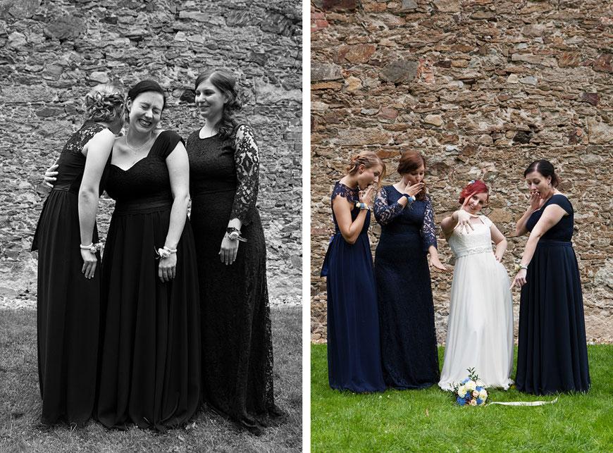 lockere Gruppenbilder bei Hochzeit nahe Dresden