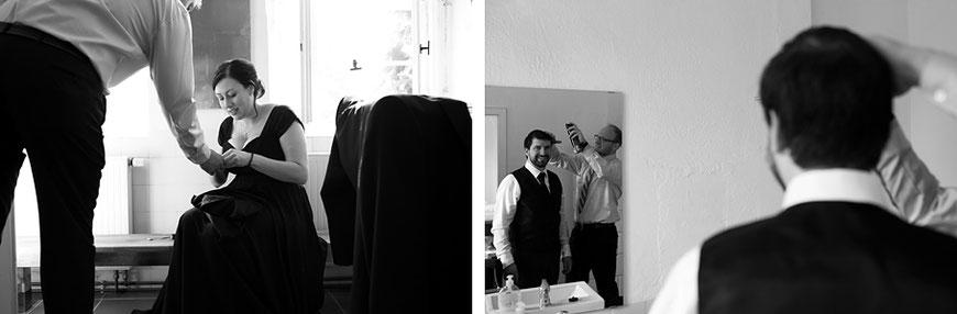 Hochzeitsvorbereitungen des Bräutigams mit Trauzeugen bei Dresden