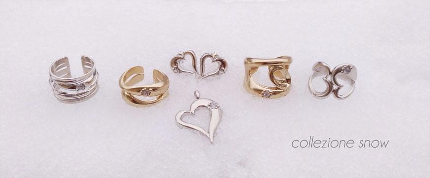 gioielli biancopunto collezione snow - anelli pendenti orecchini
