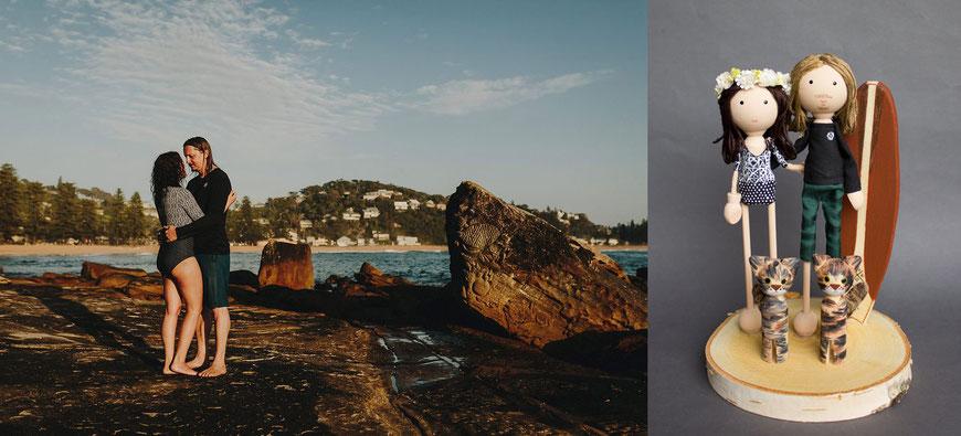 Hochzeit Surfbrett personalisierte Kuchenfiguren mit zwei Katzen in Australien