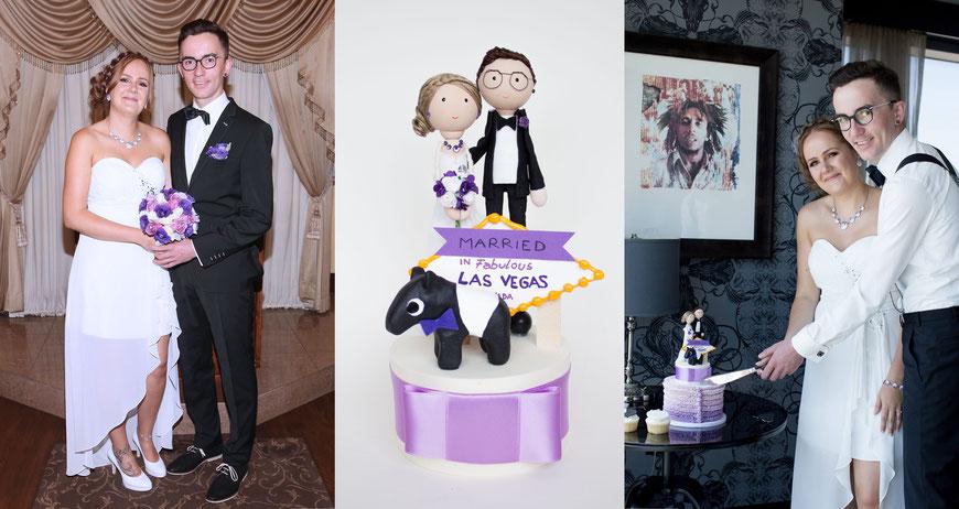Hochzeit in Las Vegas mit personalisiertem Hochzeitstopper