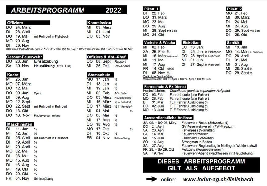 Jahresprogramm 2017 der Feuerwehr Fislisbach