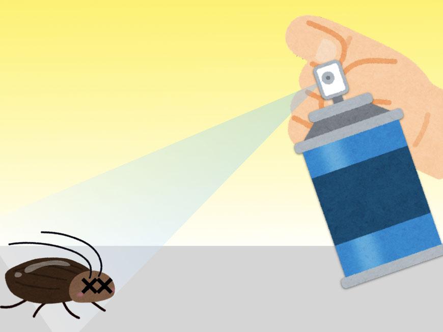 殺虫剤をかけられるゴキブリ