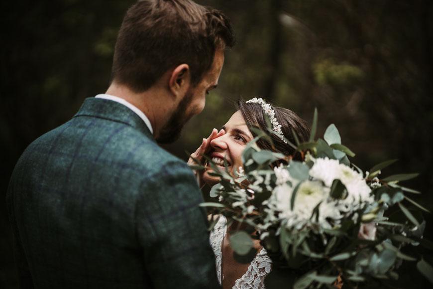 First Look Fotoshooting bei der Hochzeit