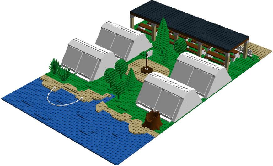 Zeltcamp aus Lego-Klemmbausteinen