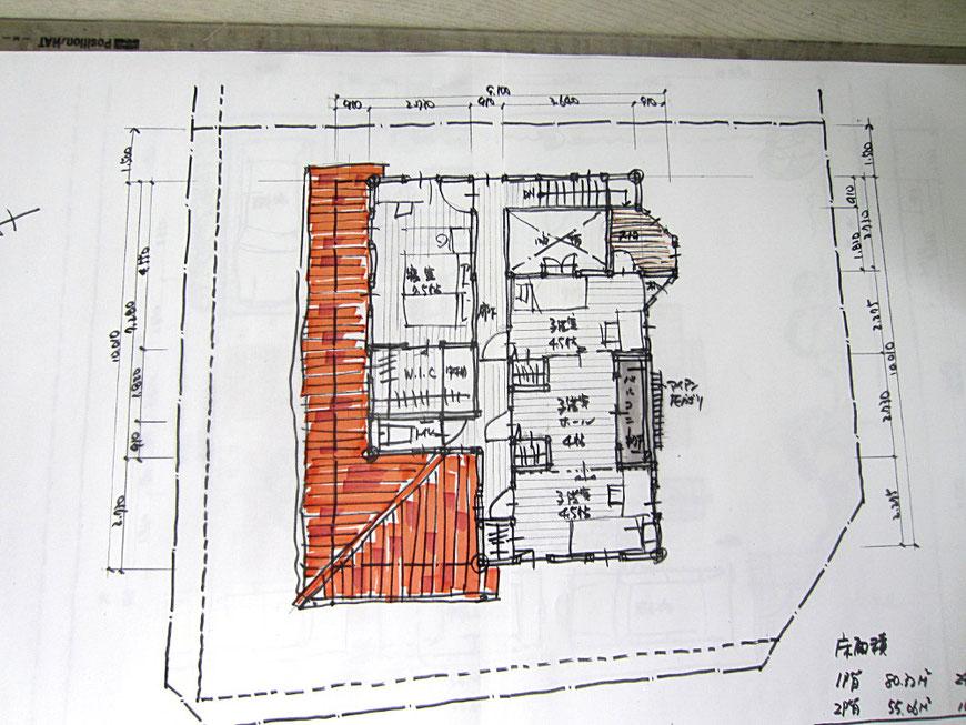 ファーストプラン 2階平面スケッチ