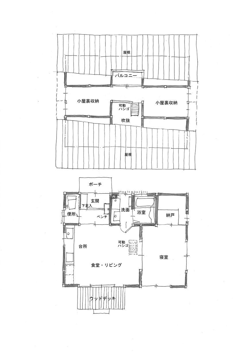 おかやまの木の家ー1 平面図