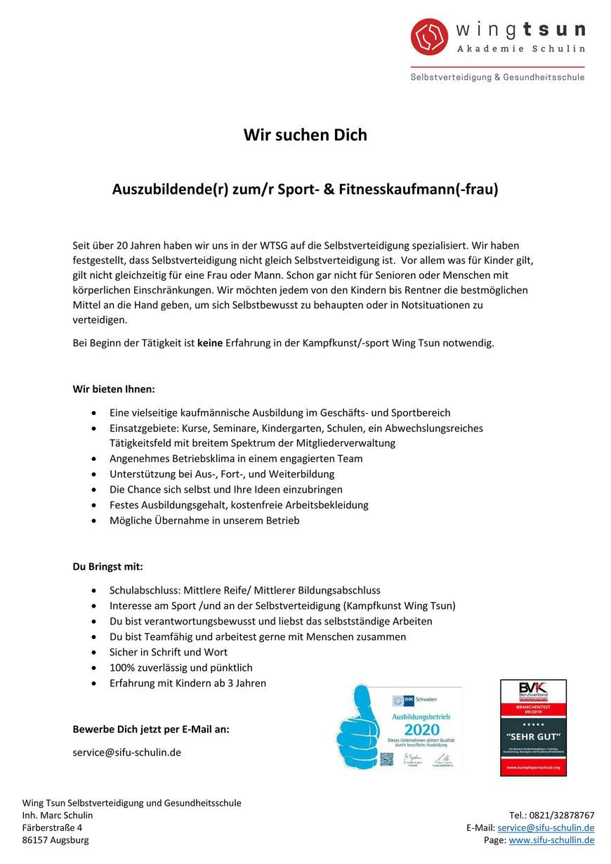 Wir suchen Dich! Ausbildungsplatz Sport- & Fitnesskaufmann/frau - Selbstverteidigung für Kinder in Augsburg und Stadtbergen