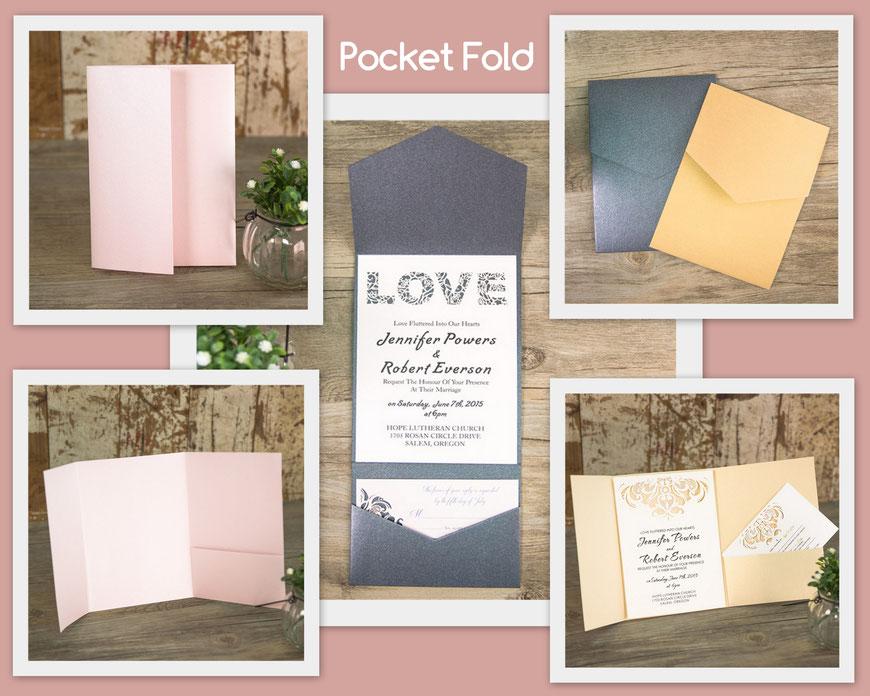 Pocket Fold Karten Hochzeitskarten
