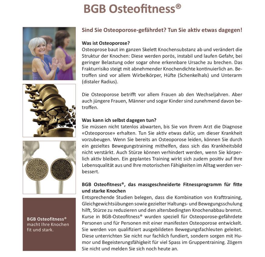 BGB Osteofitness®, das massgeschneiderte Fitnessprogramm für fitte und starke Knochen