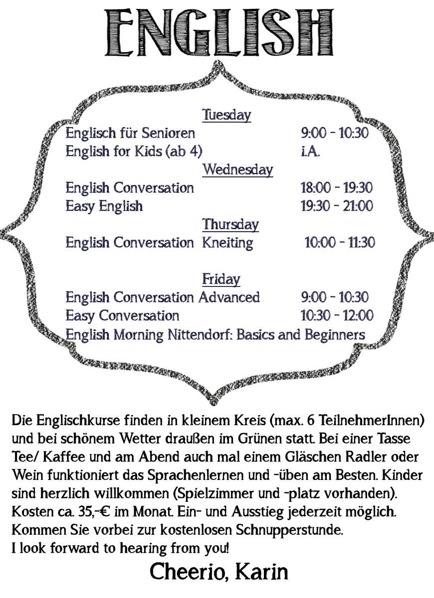 Englisch Üben, Konversation, Lernen, bei Regensburg, Englisch Kurs Regensburg, Englischkurs
