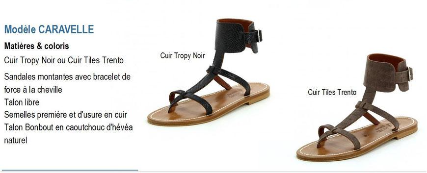 K.Jacques, modèle CARAVELLE, sandale plate montante cuir tropy ou tiles avec bracelets chevilles