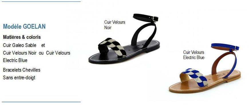 K.Jacques, modèle GOELAN, sandale plate cuir velours avec bracelet cheville