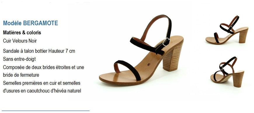 ©K.Jacques, modèle Bergamote, sandale en cuir velour noir à talon_Archi'Tendances