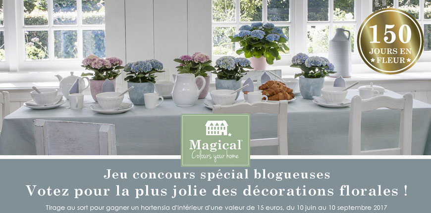 Jeu Concours 2017 - Décoration de table avec les hortensias Magical Colours Your Home